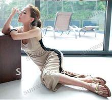2013 Korean Sexy Women's Summer Unique Asymmetrical Ruched Stretch Cotton Long Tank Dress5261