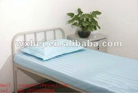 durable and disposable blue and yellow stripe hospital flat sheet bedding sheet