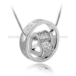 Authentic Austrian white crystal gold plated ring with heart pendant necklace