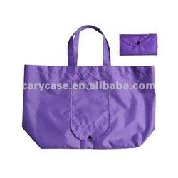 210T polyester folding/foldable shopping bag , purple wallet case foldded up bag