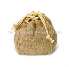 mini blank printed storage drawstring natural jute bag in pouch