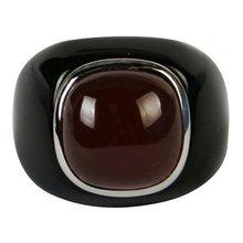 Anillos de compromiso de precio 8# negro obsidiana con cornalina