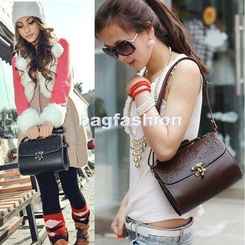 2012 latest design Vintage Carved Flower bag PU Leather lady handbag