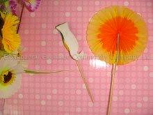 decorative wooden decorative party picks 100mm sun flower picks