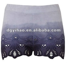 2012 ladies new arrival fashion 100% viscose hot shorts with EMB on hem