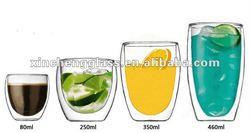 Eco-friendly elegant design double wall glass coffee cup 80ml,,250ml,350ml,450ml