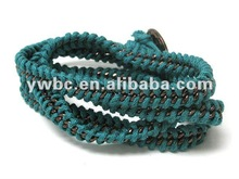 Wholesale fashion jewelry 26 inch metal chain and fabric braided free wrap style bracelet(B102448)