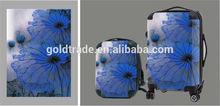 2014 Fashion Design and Colorful Transparent Clear Super Light Four Wheels 100% Pure PC Travel Bag