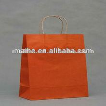 2012 best sell machine made paper bag,orange kraft paper bag