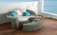 fashionable PE wicker sun lounger chairs