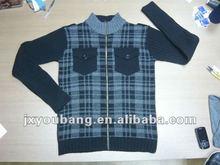 Jacquard full zip men fashion sweaters 2012