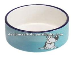 hand painted wholesale cartoon ceramic dog bowl