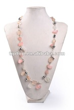 SINGLE LOW PINK COLOR HAND MADE LONG NECKLACE