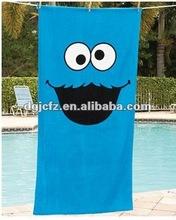 jumbo COOKIE MONSTER SESAME STREET BIG SMILING BLUE BEACH POOL kids hooded TOWEL