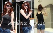 2012 ladies cotton T-shirt Fashion lace beaded Tank Tops 3140