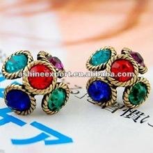 2012 fashion alloy ear stud with colorful rhinestone