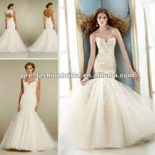 AH152 2012 New Style Sexy Sweetheart Applique Lace Brush Train Organza With Bolero Backless Champagne Lace Wedding Dresses