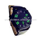 fashion leather band quartz watch(green digital)