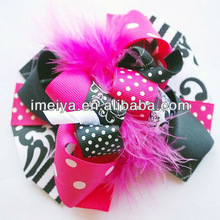 Shocking Pink&Black Diva Funky Loopy Hair Bow