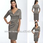 2012 New styles satin knee length mother of the bride dress with sleeves
