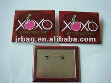 2012 Square tin button badge pin reel logo printing