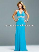 New Hot Sale Elegant Blue Spaghetti Straps V Neck Evening Dress