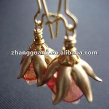 Flower Glass Earrings In Gold. Rose, Pink, Bead Cap Vintage, Hawaiian, Floral