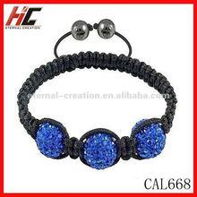 High quality handmade alloy bracelet with rhinestone, 3 blue beads charm shamballa jewels(CAL668)