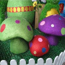 Colorful foam mushroom for Easter decoration