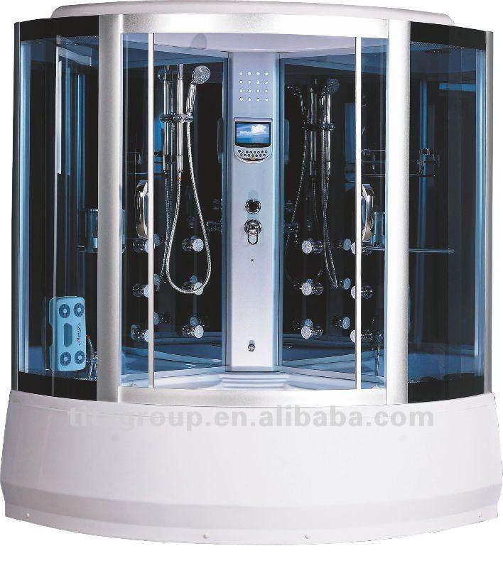 Coin cabine de douche massage avec jets led de couleur bleue salle de douche - Douche avec jet de massage ...