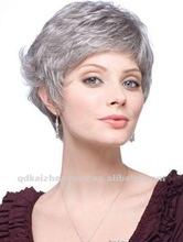 short gray human hair full lace wig
