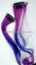 Tie Dye 100% Human Hair Extensions Blue And Purple Color