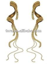 2012 fashion Hammer Long Multi Chain Swirl Drop Earrings