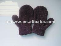 Soft polar fleece navy purple knitted Baby/infant mitten/gloves