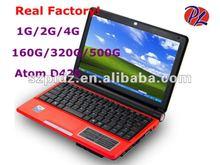 mini 10 inch laptop netbook Win 7/Win XP intel atom D425 1.8Ghz cheap notebook 1G/2G/4G 160G/320G/500G