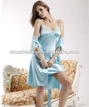 Hot sale romantic silky satin lace robe nightgown set 2091