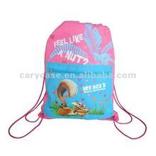 custom print drawstring nylon shopping bag with zip