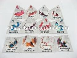 crystal pyramid,4cm Crystal 12 Zodiac Animal Pyramidal Figurines, pyramid paperweight MH-JT0049