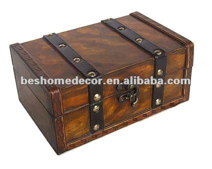 Magnífico reacabado cofre del tesoro, cofre del tesoro-- hechos a mano de madera con el hardware de latón( corregido listado)