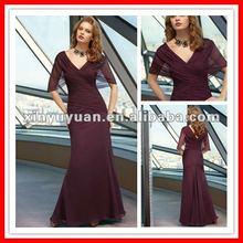 2012 Beautiful Sexy Short Sleeves Mermaid V-neck V-back Chiffon Rust Red Evening Dress Night Gown MLA-621