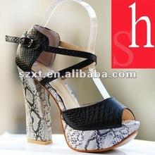Fashion Shoes 2012 Women Snake Skin Peep Toe Thick High Heels XT12071711