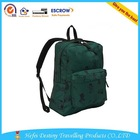 China fashion wholesale army green canvas backpack waterproof school bag