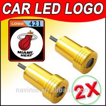 car Ghost Shadow Light LED for Miami Heat NBA basketball Laser Welcome Door Light Badge Logo 3D 12V 5w golden