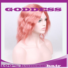New Stylish short human hair wig pink light color ,best quality virgin human hair lace front wig