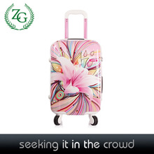 brand new PC material Euro style flowers upright PC luggage Hardshell Spinner Suitcase Set