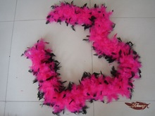 40G Pink With Black Tips Chandelle Feather Boa Dress Up