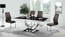 TC716 stainless steel dining table with leather chairs