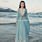 Summer Women Vintage Bohemian long sleeve maxi dress muslim