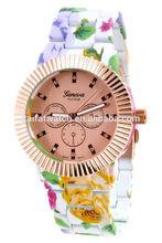 Hot Floral Print Band Geneva Platinum Rose Gold Tone Case Lady Fashion Watch