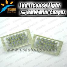 Pure White High Power NO ERROR 18-SMD LED Mini License Plate Light for MINI R50 R52 R53 Led DC 12V led plate license light